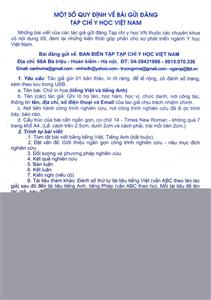 Một số Quy định về bài gửi đăng Tạp chí Y học Việt Nam