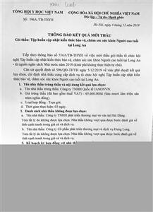 Thông báo kết quả mời thầu số 596A/TB-THYH